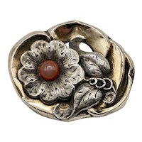 Art Nouveau Sterling and Gold Plate Brooch