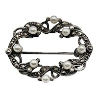 Victorian Sterling Silver, Marcasite, Faux Pearl Brooch