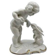 Vintage Hutschenreuther Porcelain Putto and Rabbit Figurine,Selb Bavaria,K.Tutter