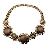 Vintage Renaissance Revival Brass and Copper Medallion Necklace