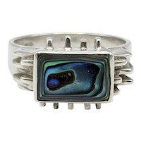 Vintage Sterling Silver & Abalone Modernist Ring, 6.5