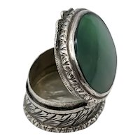 Vintage 800 Silver and Glass Engraved Pillbox