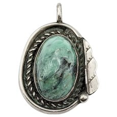 Vintage Sterling Silver and Turquoise Southwestern Pendant, Signed