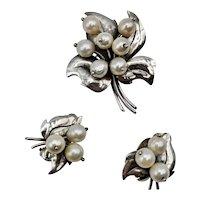 Vintage Sterling Silver & Pearl Joan Polsdorfer JoPol Brooch and Earring Set, Signed
