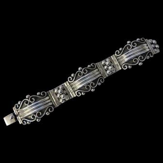 Vintage Sterling Silver Mexican hinged bracelet