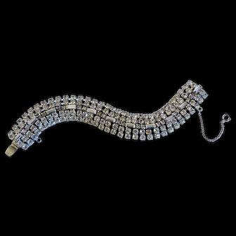 Vintage Weiss rhinestone wide bracelet, signed