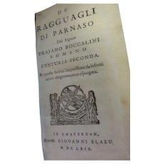 """""""De Ragguagli di Parnaso"""" Parte Terza, by Trajano Boccalini, published in Amsterdam by Giouanni Blaeu, 1669."""