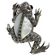 Vintage Sterling Silver Marcasite & Mother of Pearl Frog Brooch