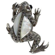Vintage Sterling Silver Marcasite & Mother of Pearl Frog Brooch