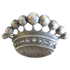 Kalo Hand Wrought Sterling Silver crown brooch, signed