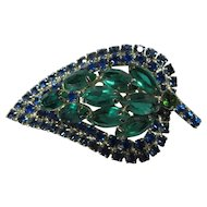 Gorgeous Vintage Juliana Blue and Green Stone Leaf Brooch