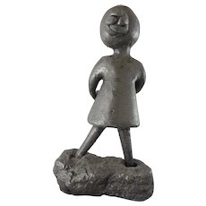 Modern solid bronze sculpture, girl and teddy bear