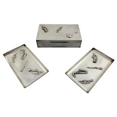 French Silver Plate Cigarette Box and Ashtray set