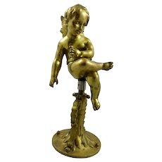 Bronze Winged Putto on stand