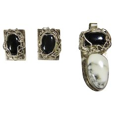Pendant and Earring Set, Sterling Silver,Black Onyx and Wild Horse Magnesite