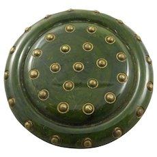 Vintage Brass Studded Bakelite Brooch