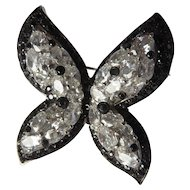 Sterling Silver Butterfly Brooch with Black+Clear Rhinestones