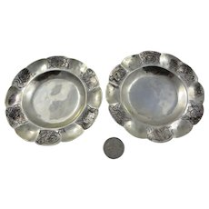 Two Sterling Silver Sanborn's Small Plates,Signed