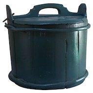 Antique 19 Century large rustic blue primitive butter / milk bucket with lid.
