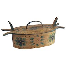 Antique 19th century bentwood pantry / tine box hand made and painted in flowers and hearts.