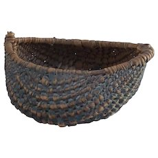 18 / 19 Century small herb gathering root basket in original blue color.