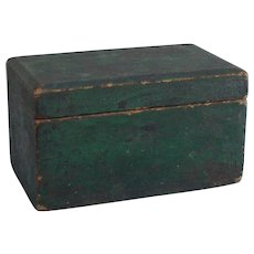 Antique 19 century wood medicine box or document box in dove tail construction in original rustic folk art green paint.
