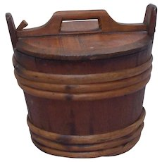 19th Century antique Scandinavian wood barrel style bucket with lid