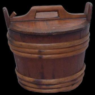 19th Century antique Scandinavian wood barrel style bucket with lid