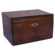 Antique 19 century small Scandinavian wood hand painted chest with lock and key