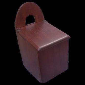 Antique 19 century Scandinavian pine wood tombstone back dry goods hanging wall box