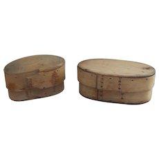 2 Each 19 Century Scandinavian bentwood pantry box / tine box .