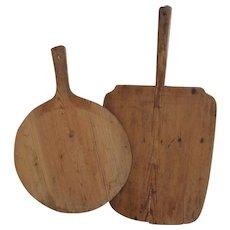 2 ea antique 19 century Scandinavian wood bread boards lollipop and square .