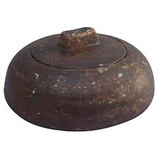 17 Century scandinavian hand carved wood knot herb / spice container dated ANNO 1673