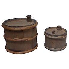2 Each Antique 19 century Scandinavian primitive Swedish pine wood barrel containers to hold fluids hand made folk art .