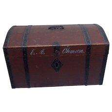 19 Century Scandinavian Swedish pine wood dome Travelers chest signed E.A.Öhman