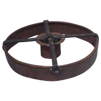 19 Century Scandinavian Swedish copper hard rye bread dough cutter