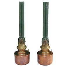 A pair of 20 Century vintage table / bed side kerosene lamps.