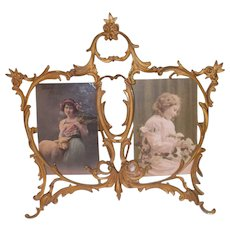 Vintage 20 Century Gilded metal cabinet card photo holder picture frame .