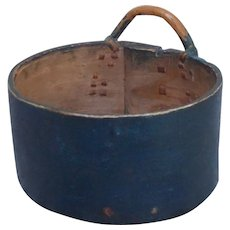Old Swedish 19th Century pine bentwood measuring wall container basket in rustic blue.