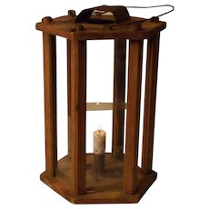 Large Rare Hexagonal Candle Lantern / Barn Lantern 19 century Scandinavian  Sweden .