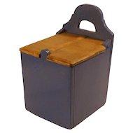 Old Antique Scandinavian  Blue painted wood wall flour / salt hanging box