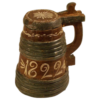 Antique 19 century Scandinavian Beer Drinking Tankard / Mug Dated 1822 Sweden
