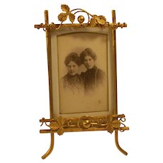 Early 1900`s vintage gold metal picture frame of white metal .