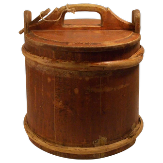 Antique 19 Century english red primitive wooden butter bucket with lid.