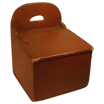 Antique 19 Century English red primitive wooden hanging tombstone back wall box dated 1876