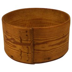 Old folk art farmer made bentwood primitive pine wooden pantry butter bowl .