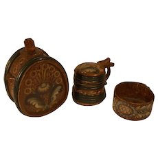 3 each antique wood containers in folk art rose painting Keg , Mug / Tankar , Bentwood Bowl .