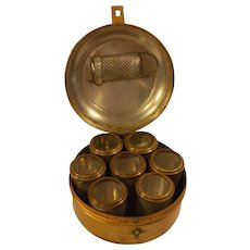 Rare antique 19 century medicine / kitchen dry herb / spice metal box with 7 each tubes with a small hand grater .