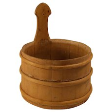 Antique 19 Century rustic primitive banded wood piggins in barrel style , farmers universal wood bucket .