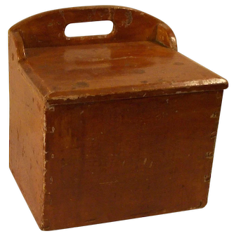 Antique 19 Century primitive wooden hanging tombstone back wall box , salt and flour box.